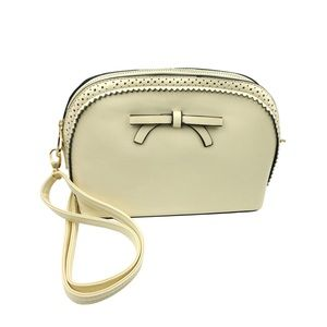 Beige ancient bow small purse
